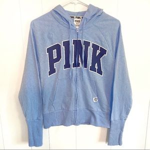 PINK Victoria's Secret Zip up blue hoodie